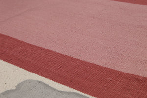 4'x6' Beige Pale Pink Blue, Red Color Hand-Woven Printed Dhurry Cotton Modern Oriental Rug