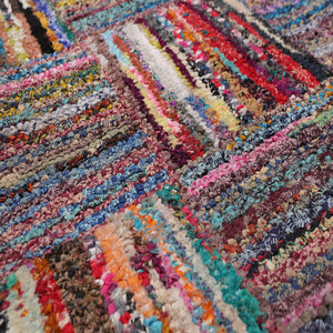 "5'x7'9"" Multi Color Color Hand Made Chindi 100% Cotton Modern & Contemporary Oriental Rug"