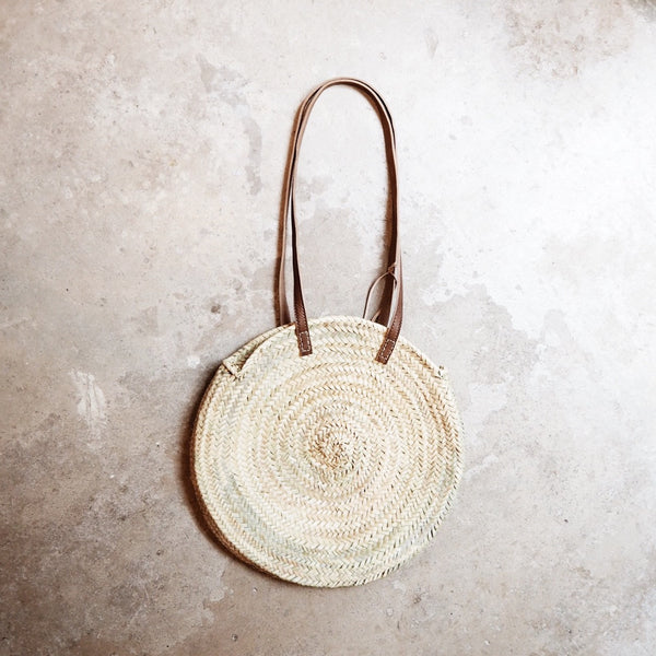 Round Straw Bag with leather straps
