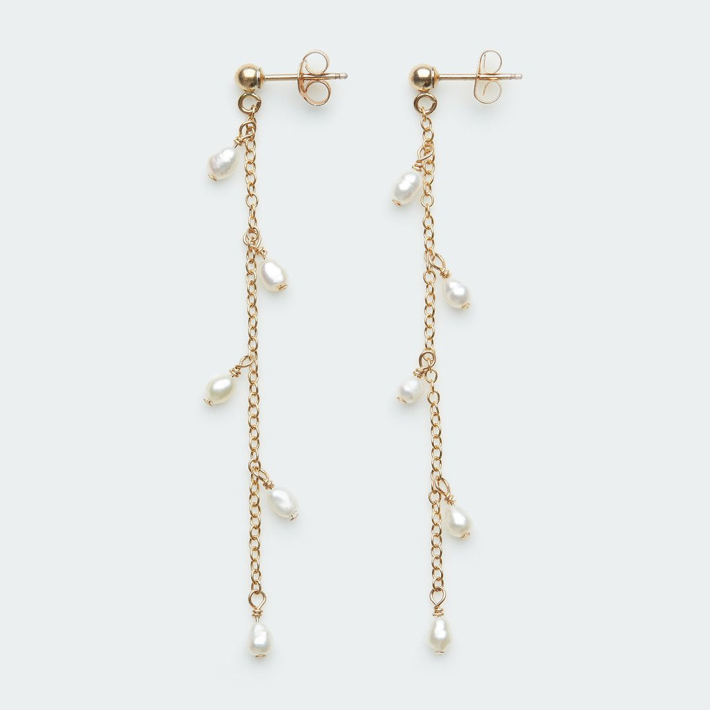 Chain Stud with Tiny Pearls - Single