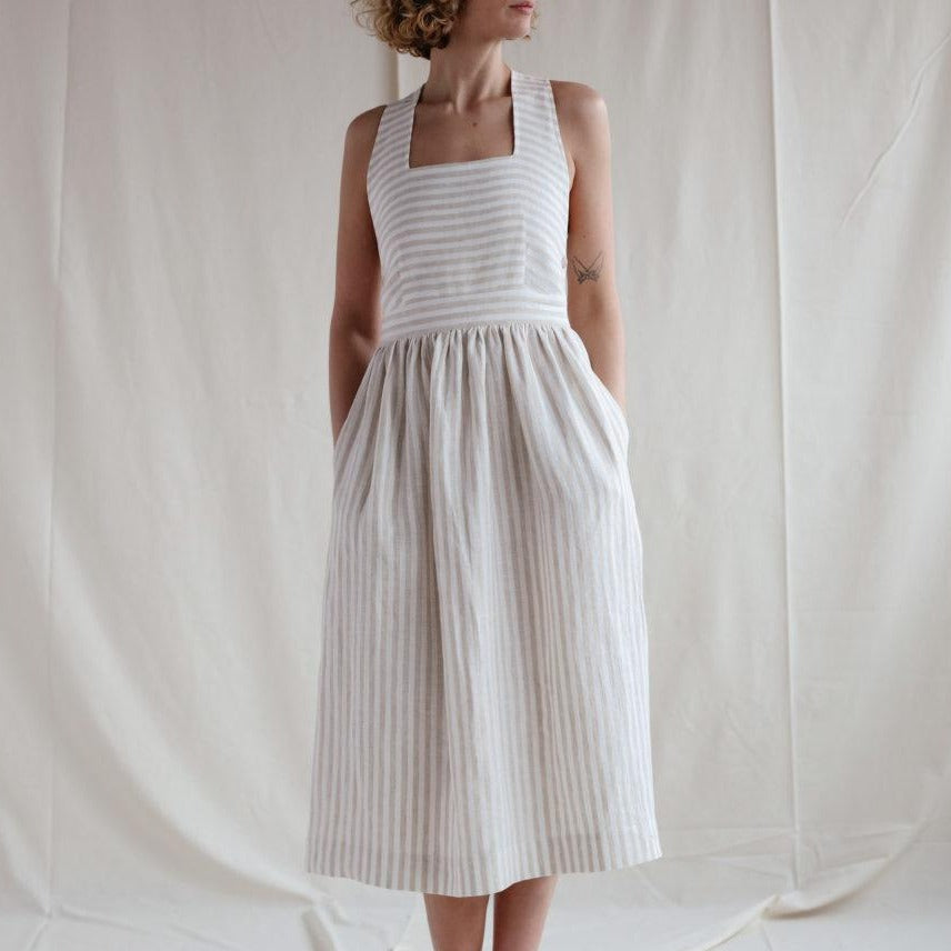 Apron Cut Linen Stripe Dress