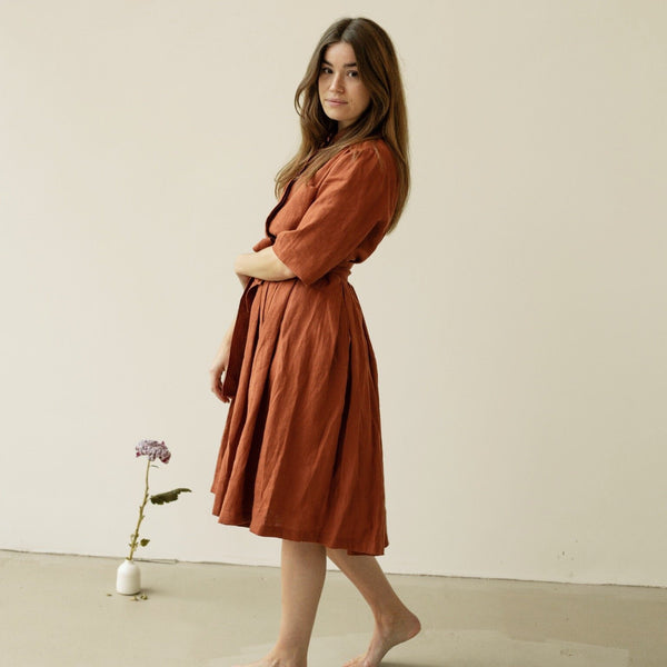 Linen Shirt Collar Dress Brick