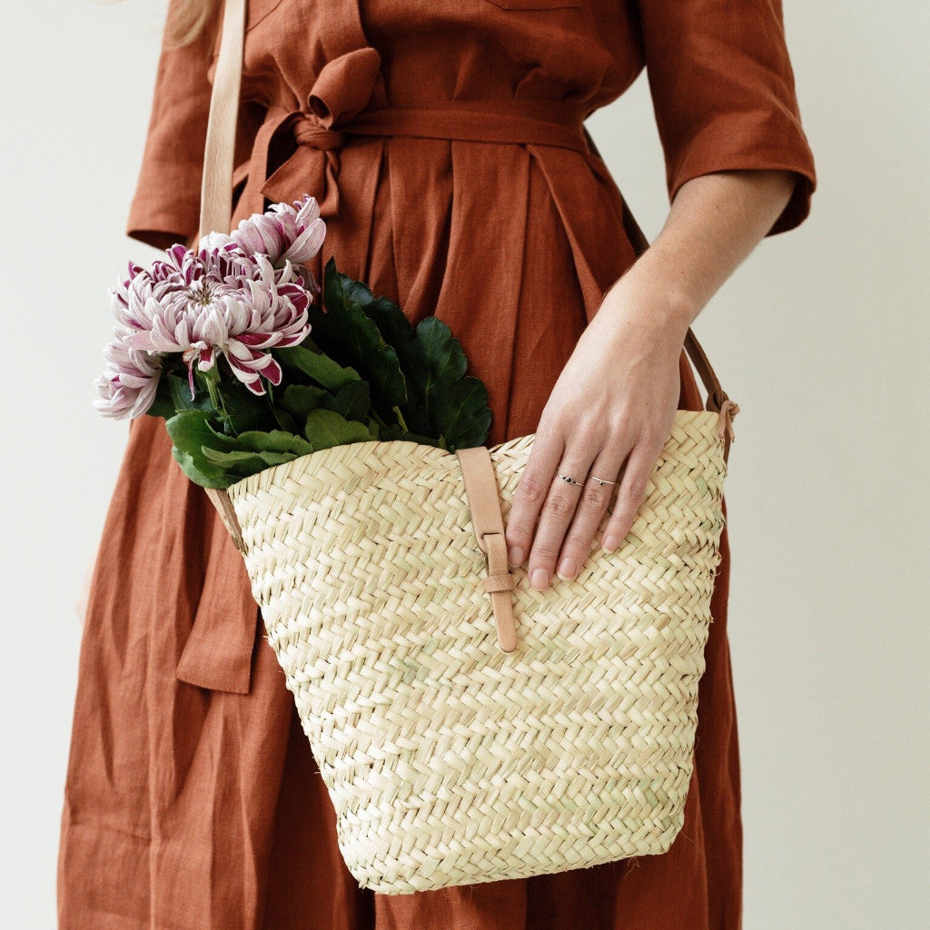 Triangular Straw & Leather Bag
