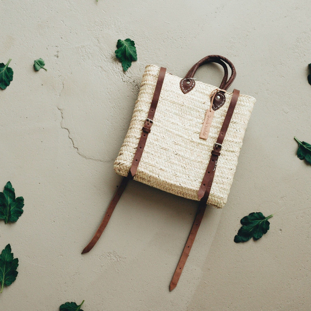 Straw Backpack with Leather Straps