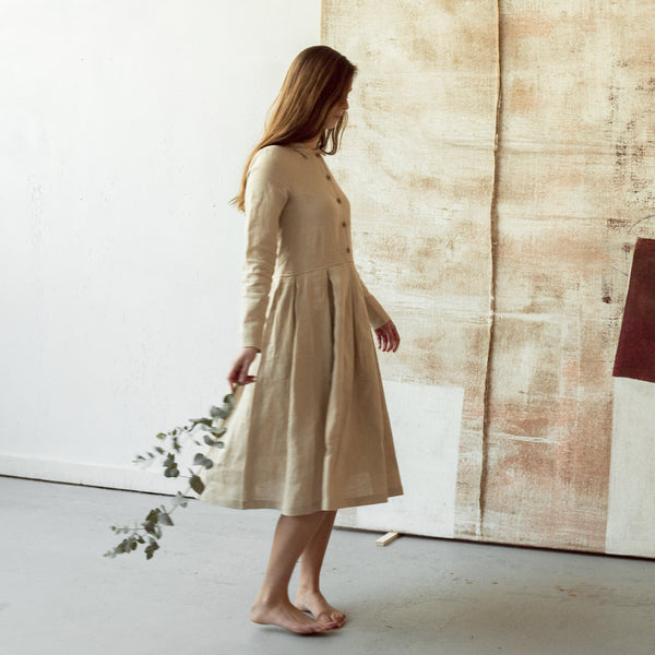 Linen Dress Light Beige