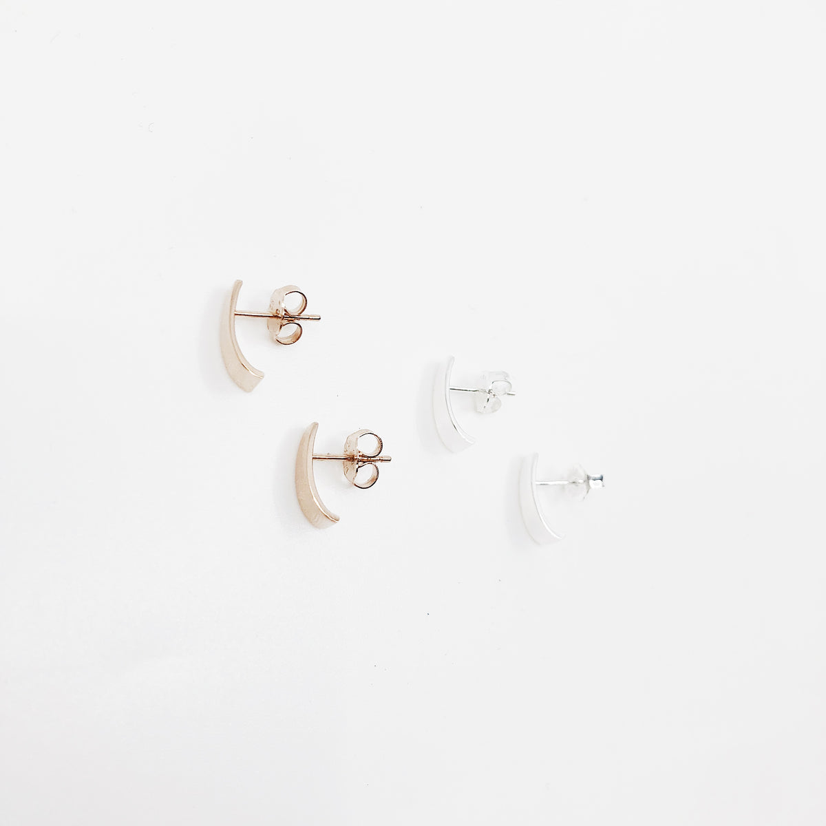Curved bar earrings - pair
