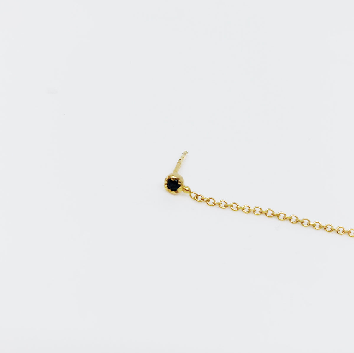 Black Sapphire Chain Earrings (Single)