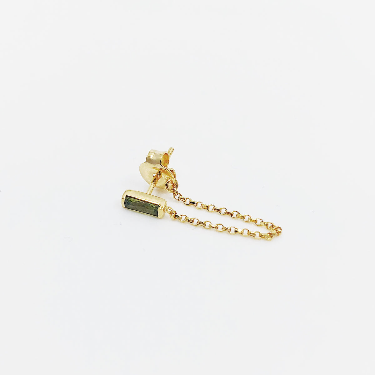 Baguette Cut Olive Chain Earring - Single