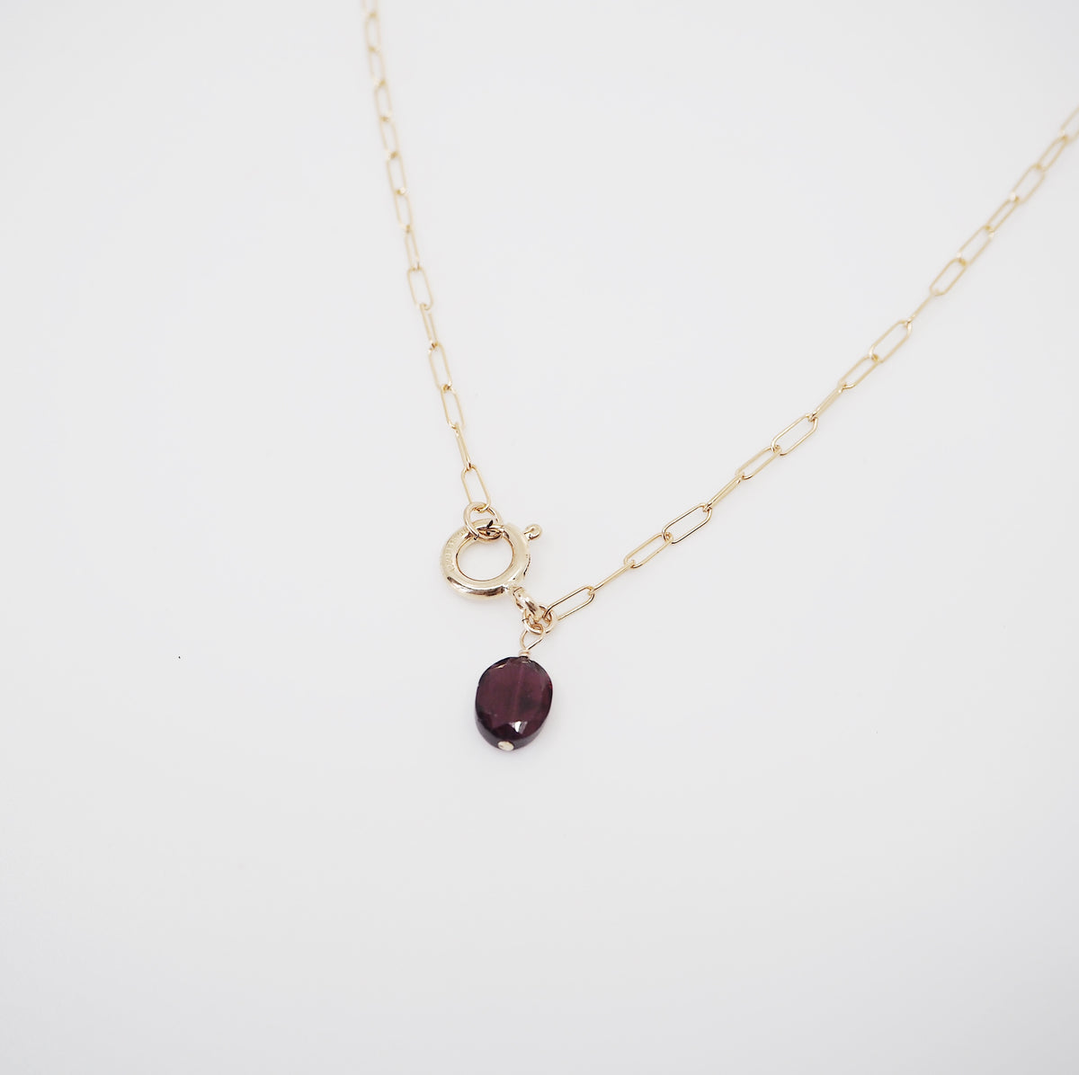 Garnet Necklace with Statement Clasp