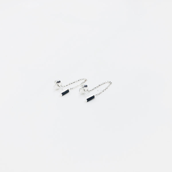 Baguette Cut Black Chain Earring (Single)