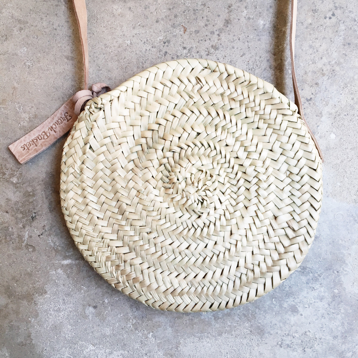 Little Round Straw Bag with Leather Straps