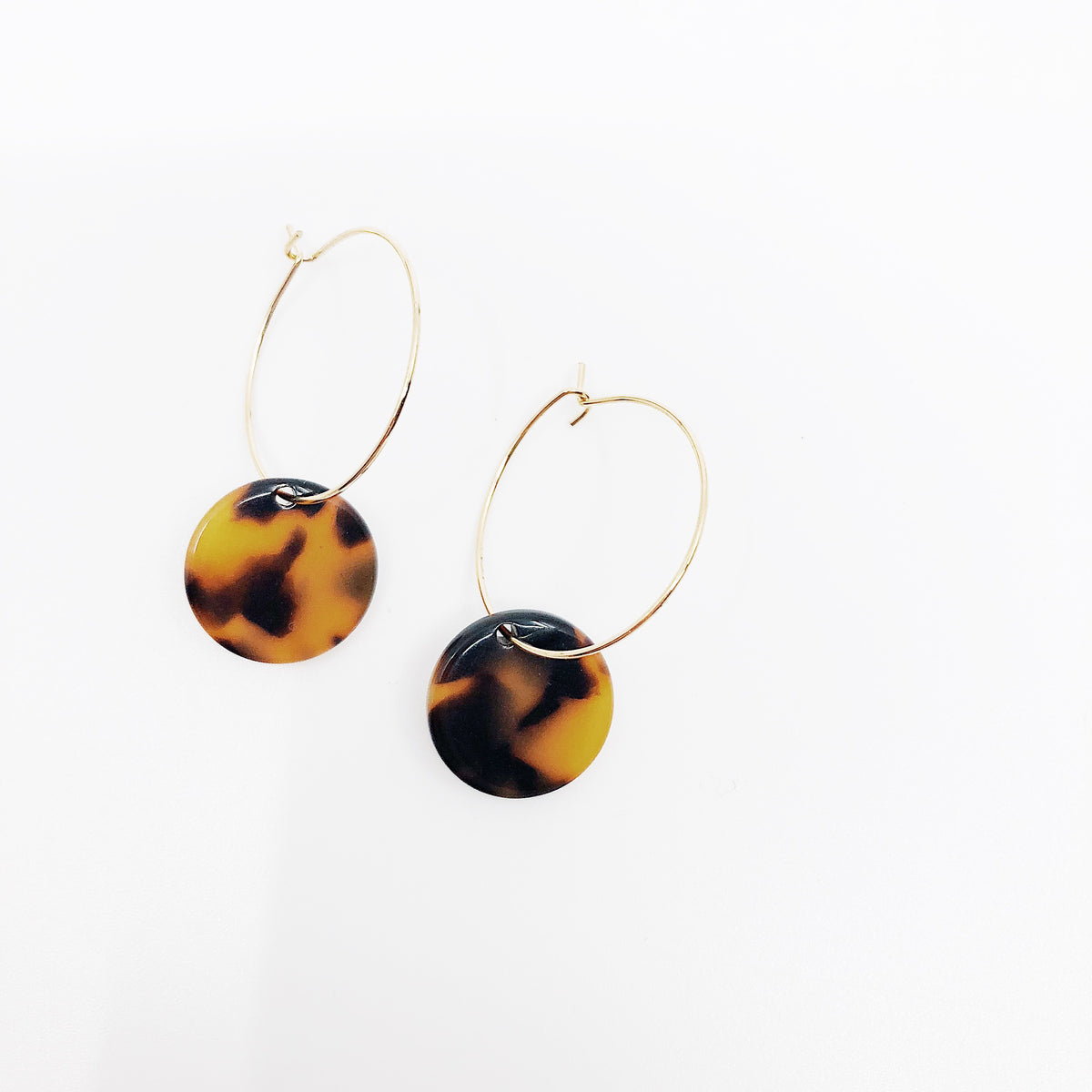Tortoise Dot Hoops
