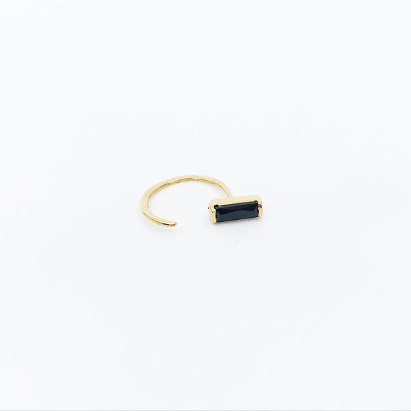 Black Baguette Cut Hugger Earring (Single)