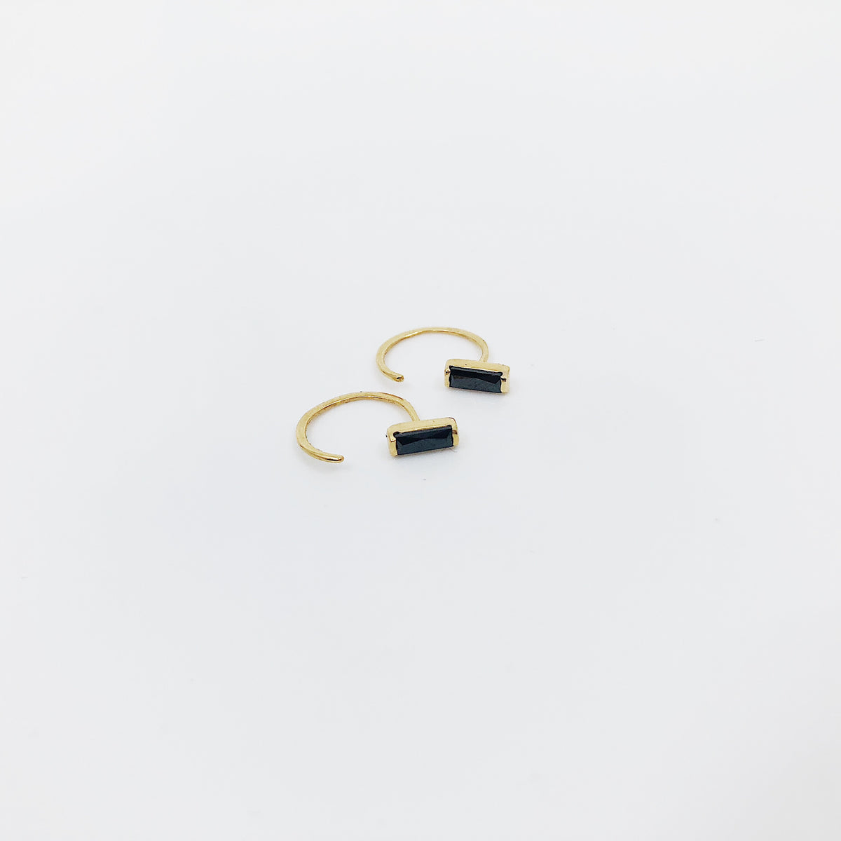 Black Baguette Cut Hugger Earring - Single