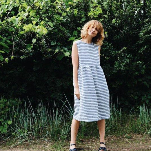 Sleeveless Linen Stripe Dress