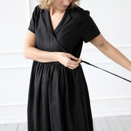 Black Linen Wrap Dress