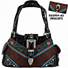 Western Hand Buckle Embroidered Brown