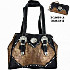 Western Handbag Black with Buckle