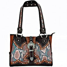 Western Handbag Snake Pattern with Buckle