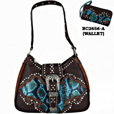Western Handbag Turquoise Snake with Buckle