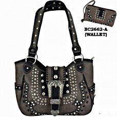 Western Handbag Grey with Buckle