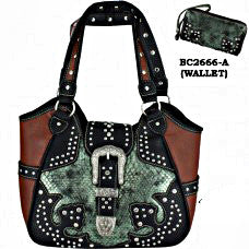 Western Handbag Green and Black with Buckle