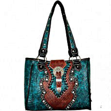 Western Handbag Turquoise with Concho