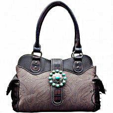 Western Handbag Grey with Concho