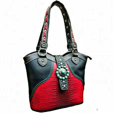 Western Handbag Red with Large Concho