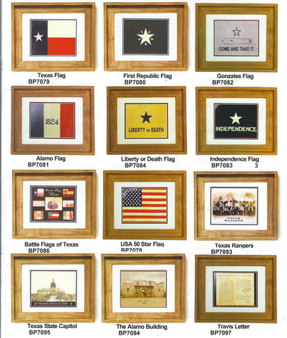 "Antiqued Flags & Prints in Barnwood  Frames 17 1/4"" x 14 1/4"""