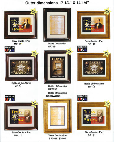 "Antiqued Flags & Prints in Mahogany Frames 17 1/4"" x 14 1/4"""