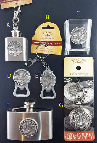 Dallas Texas Pewter Flask