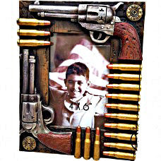 Double Gun & Bullet Picture Frame