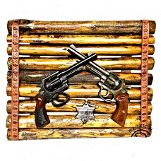 Old West Sheriff Double Gun Plaque