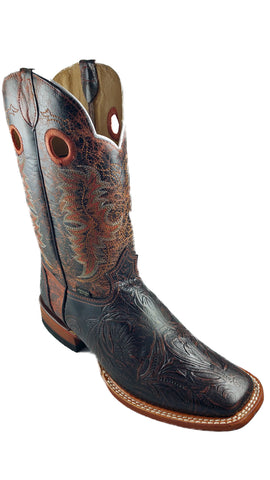 Square Toe Inlay Design Mens Boot Dark Leather