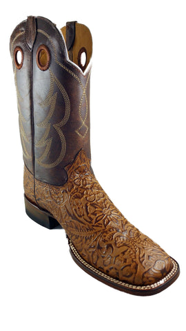 Square Toe Inlay Design Mens Boot