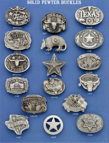 Solid Pewter Texas Buckles