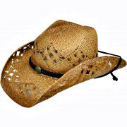 Raffia Tea Stain Cowboy Hat w/ Diamond Vent
