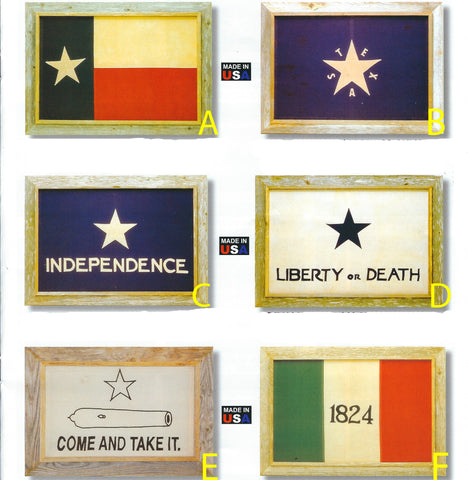 "Antiqued Flags in Barnwood Frames 20"" x 28"""