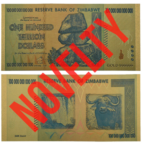 Nice Zimbabwe Gold Banknotes 100 Trillion Dollar Paper Bill Note for Collection