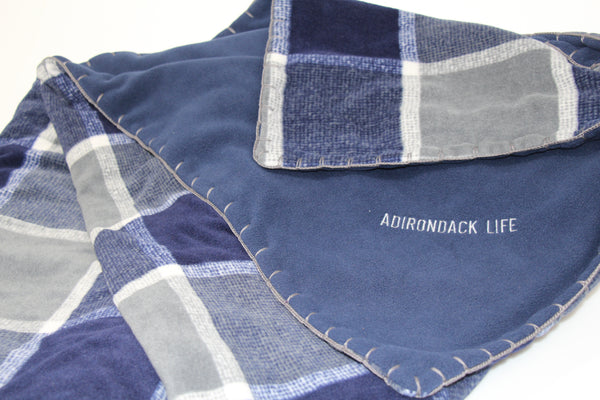 Navy and Gray Plaid Fleece Blanket