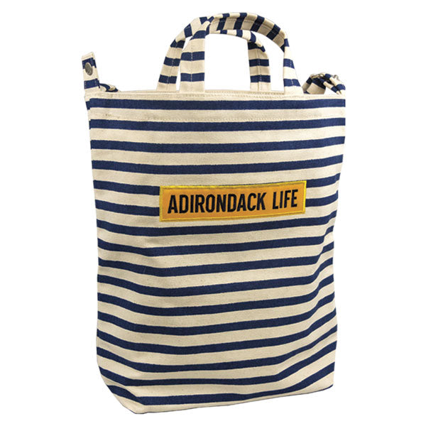 Navy  & Natural Striped  Canvas Tote Bag