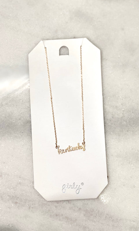 Cursive Kentucky Necklace