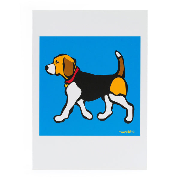 Beagle on Blue Greeting Card