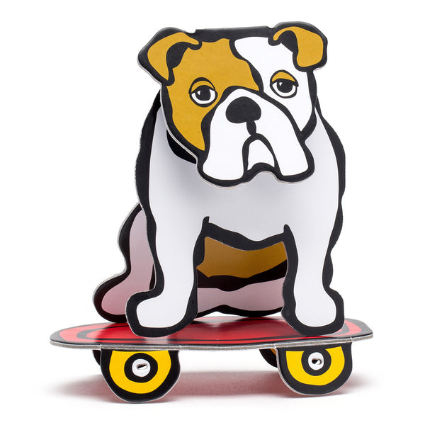 Bulldog on Skateboard Pop-Out!