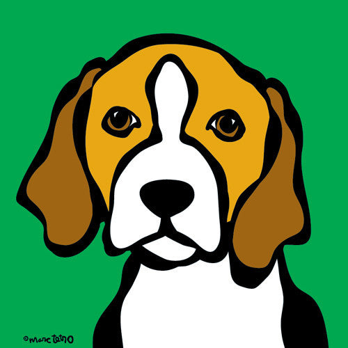 Beagle on Green Print