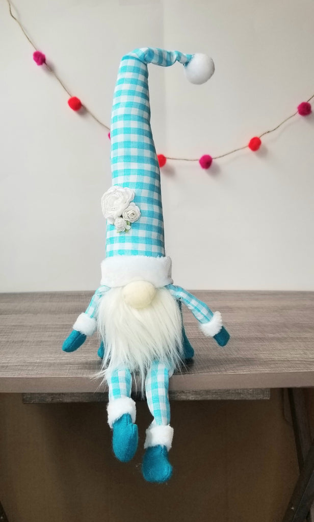 Teal Gnome with Floral Hat - Handmade