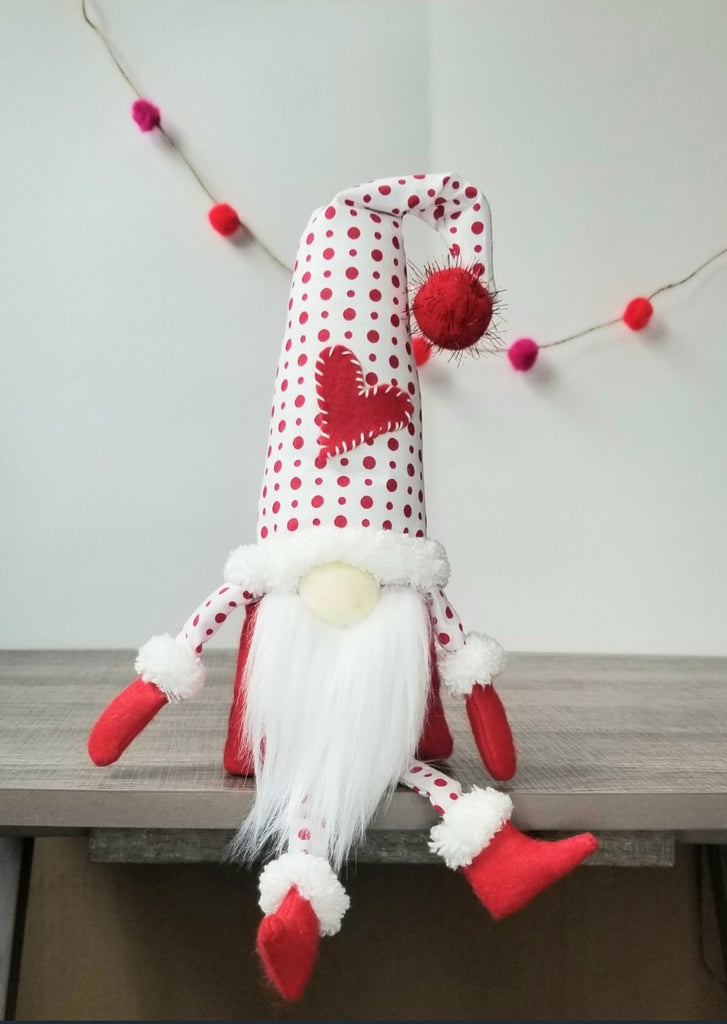 Handmade Gnome - Red Stitched Heart
