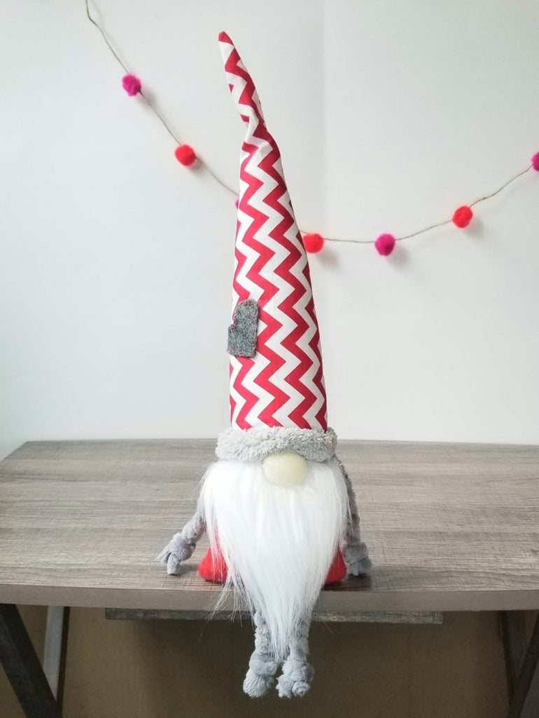 Striped Hat, Red Handmade Gnome