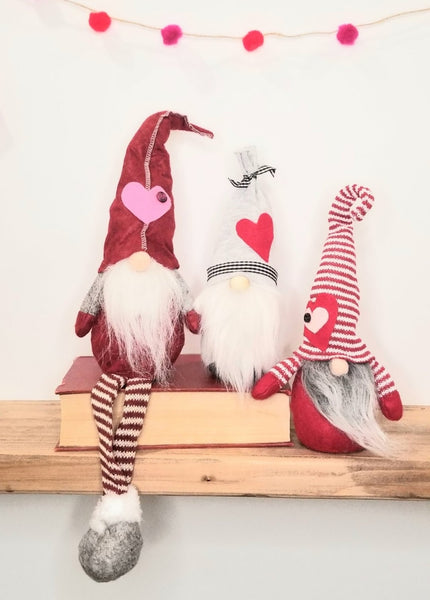 Handmade Gnome - Grey & Red
